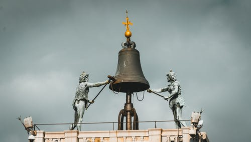 Black Bell on Top of Building