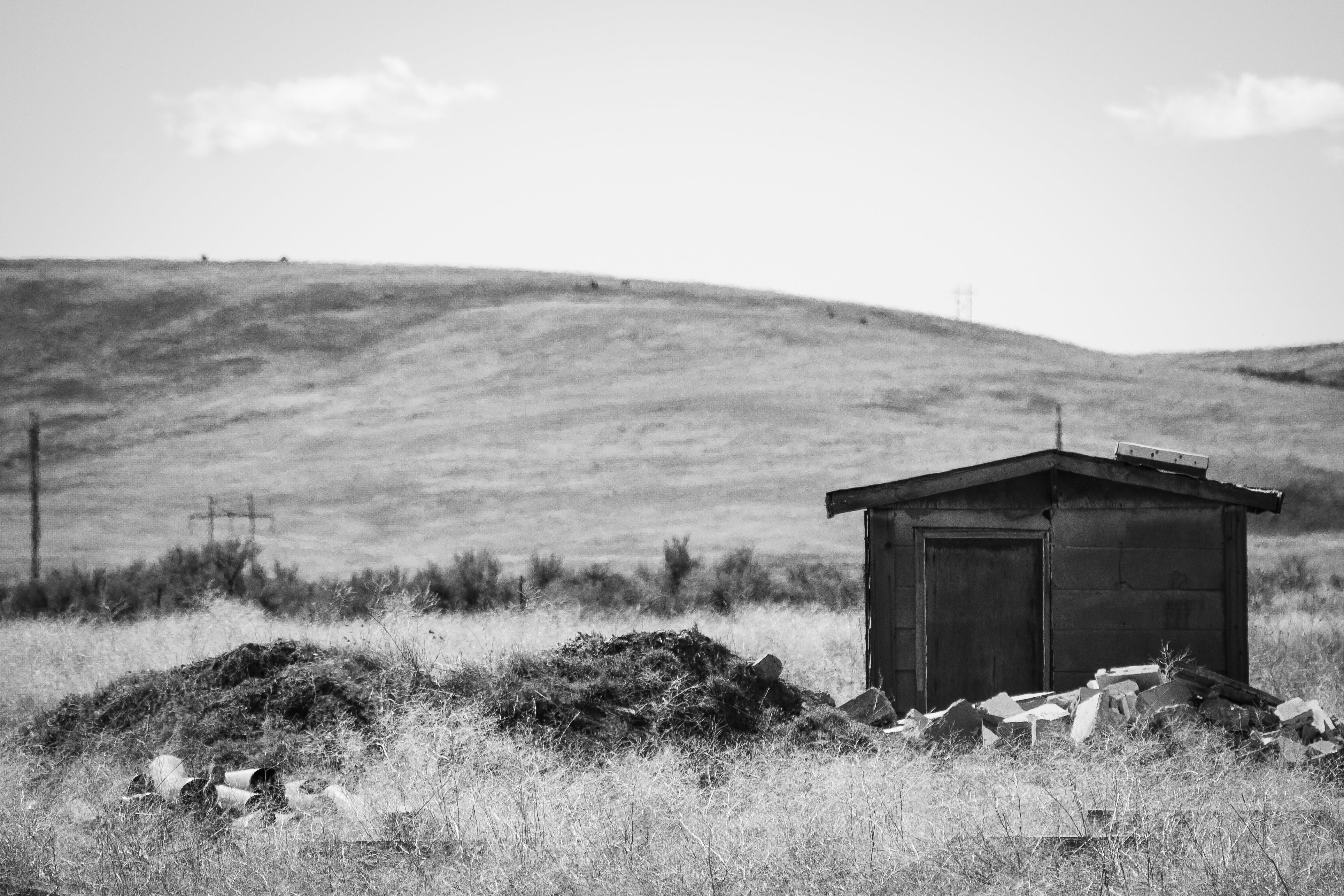 Greyscale Photography of Brown Shed Near Mountain