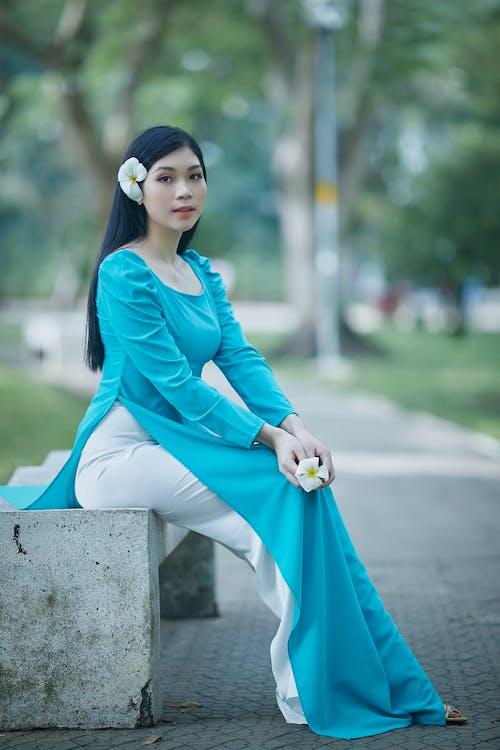 Foto stok gratis bangku, bangsa asia, biru