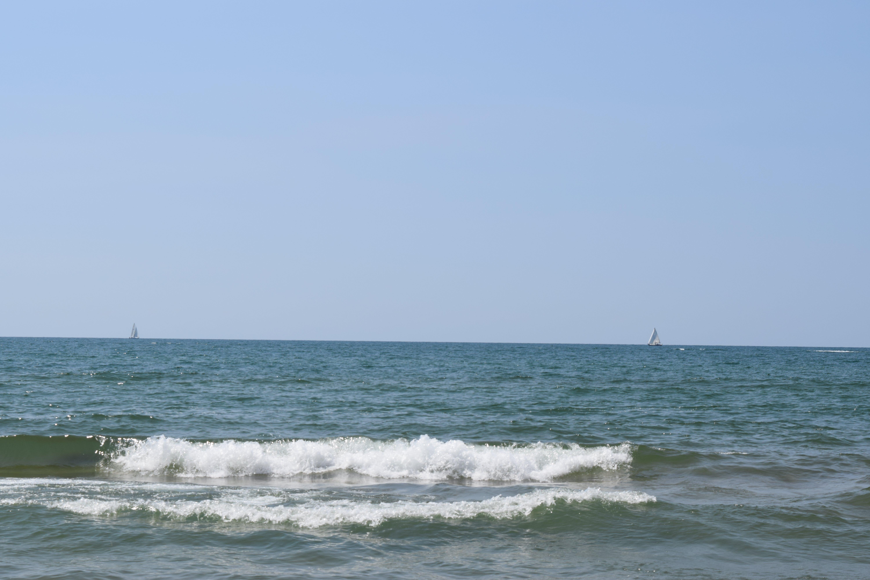 beach, blue skies, sail boat