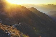 mountains, person, sun