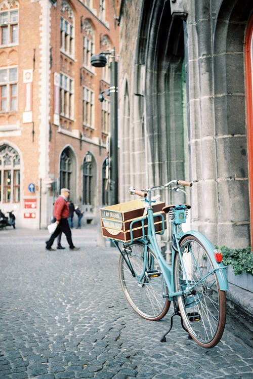 Old Fashioned Blue Bicycle on Old Town Square