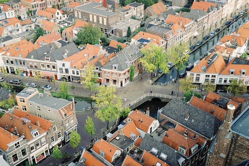 Aerial View of Old Town with Canals