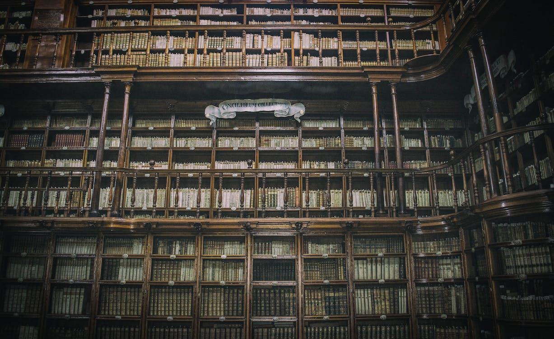 architettura, biblioteca, dentro