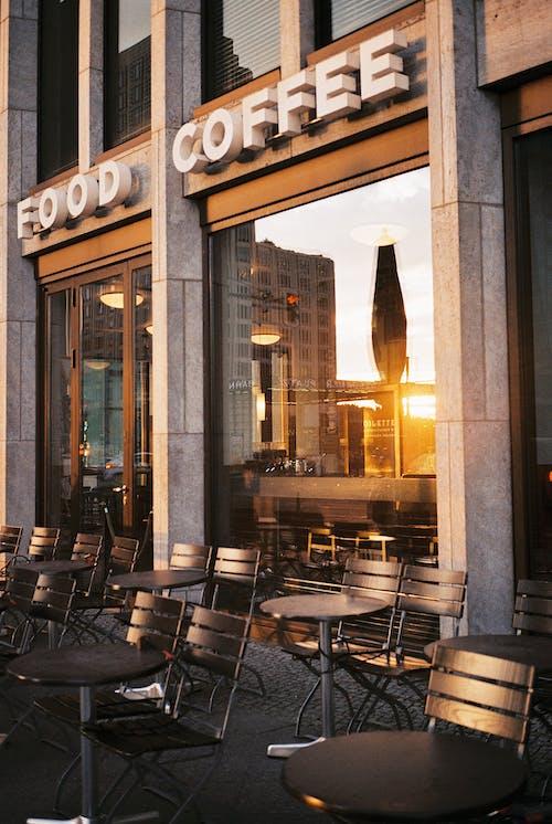Empty Sidewalk Cafe at Sunset