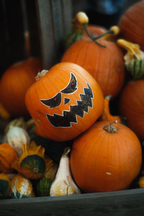 Orange Pumpkin With Jack O Lantern