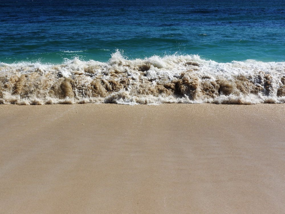 agua, arena, costa