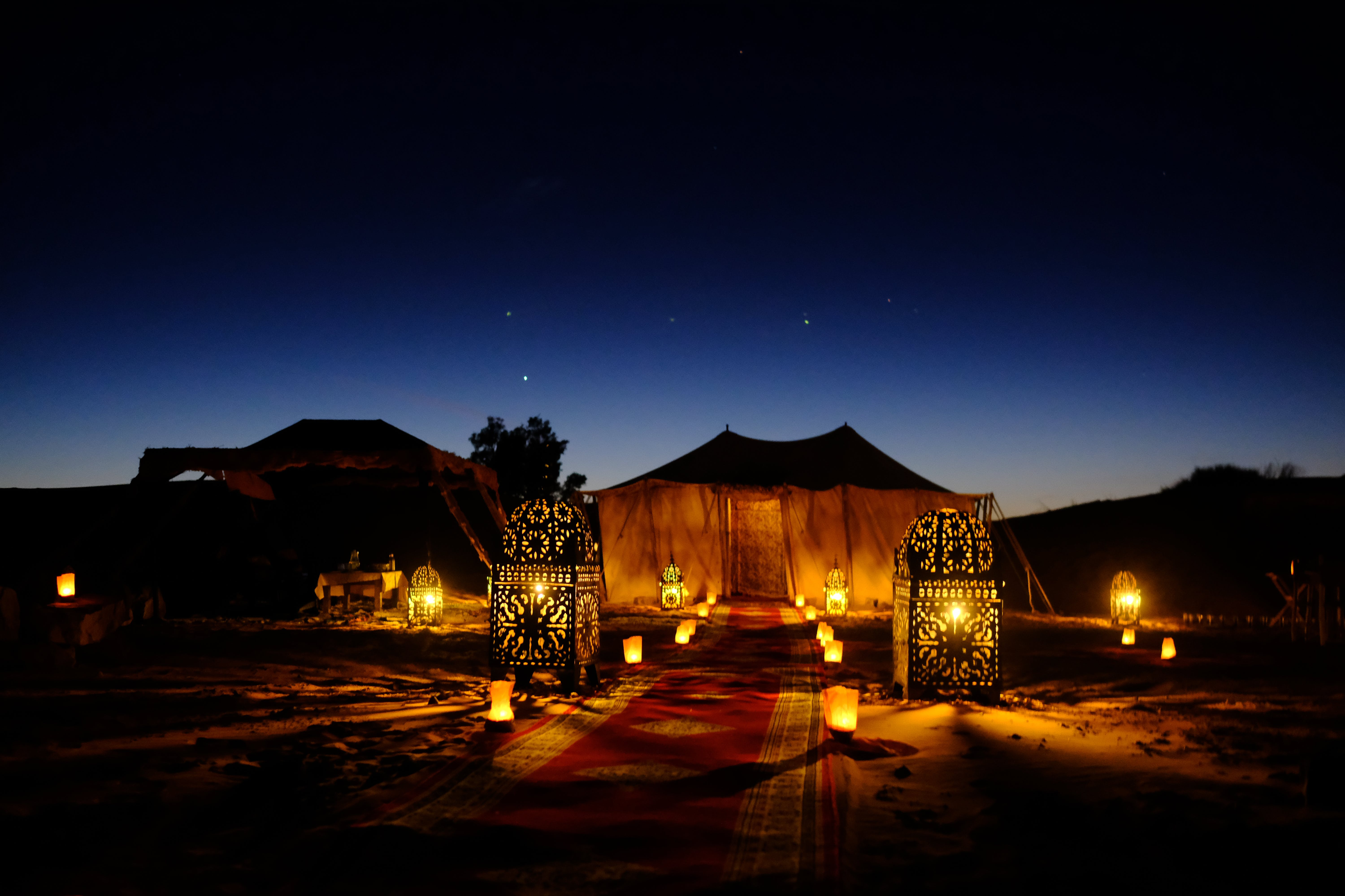 Brown Canopy Tent With Yellow Lights
