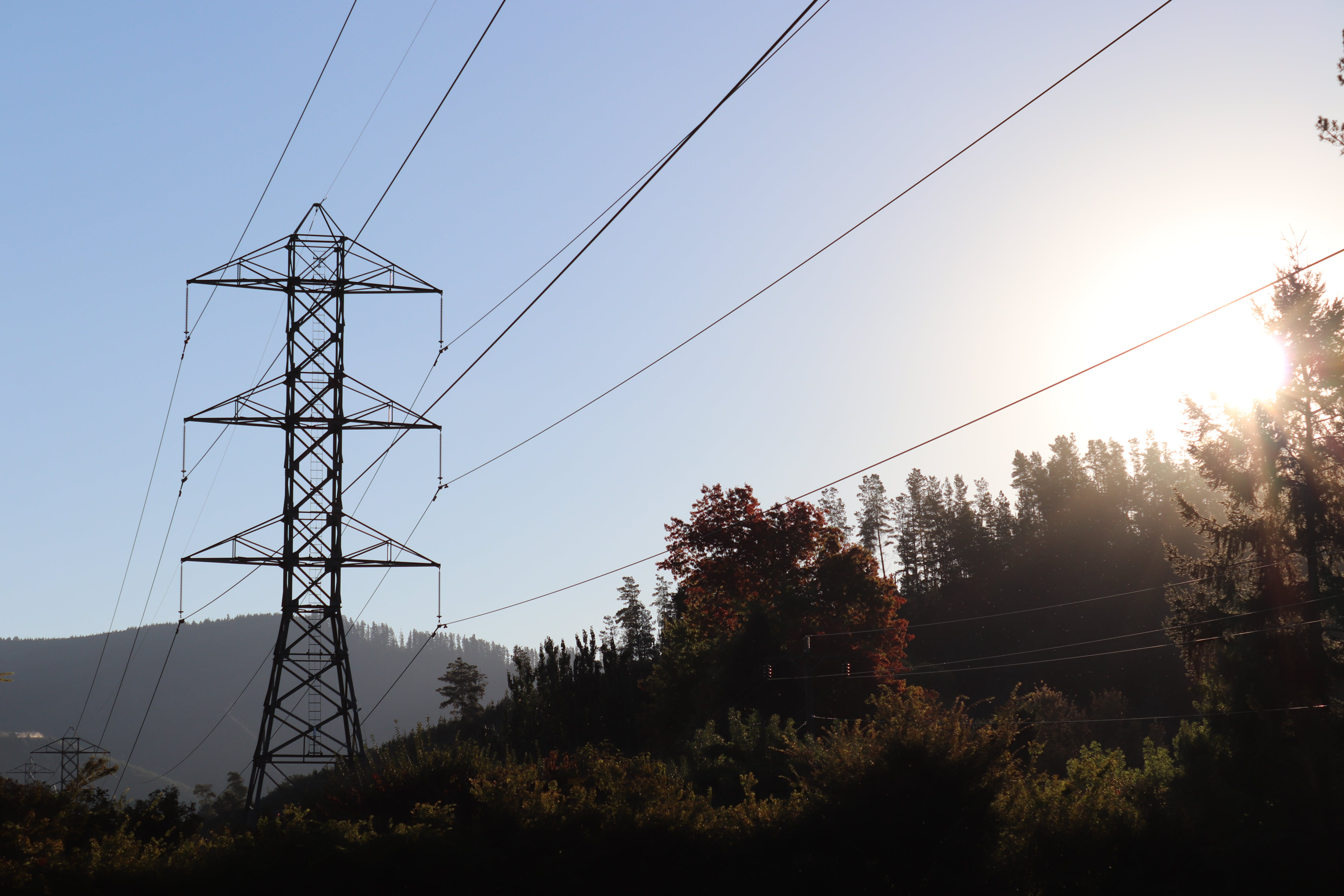Free stock photo of electrical wires, evening sun, landscape, mountain