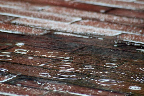 Raindrops On Red Brick Pavement