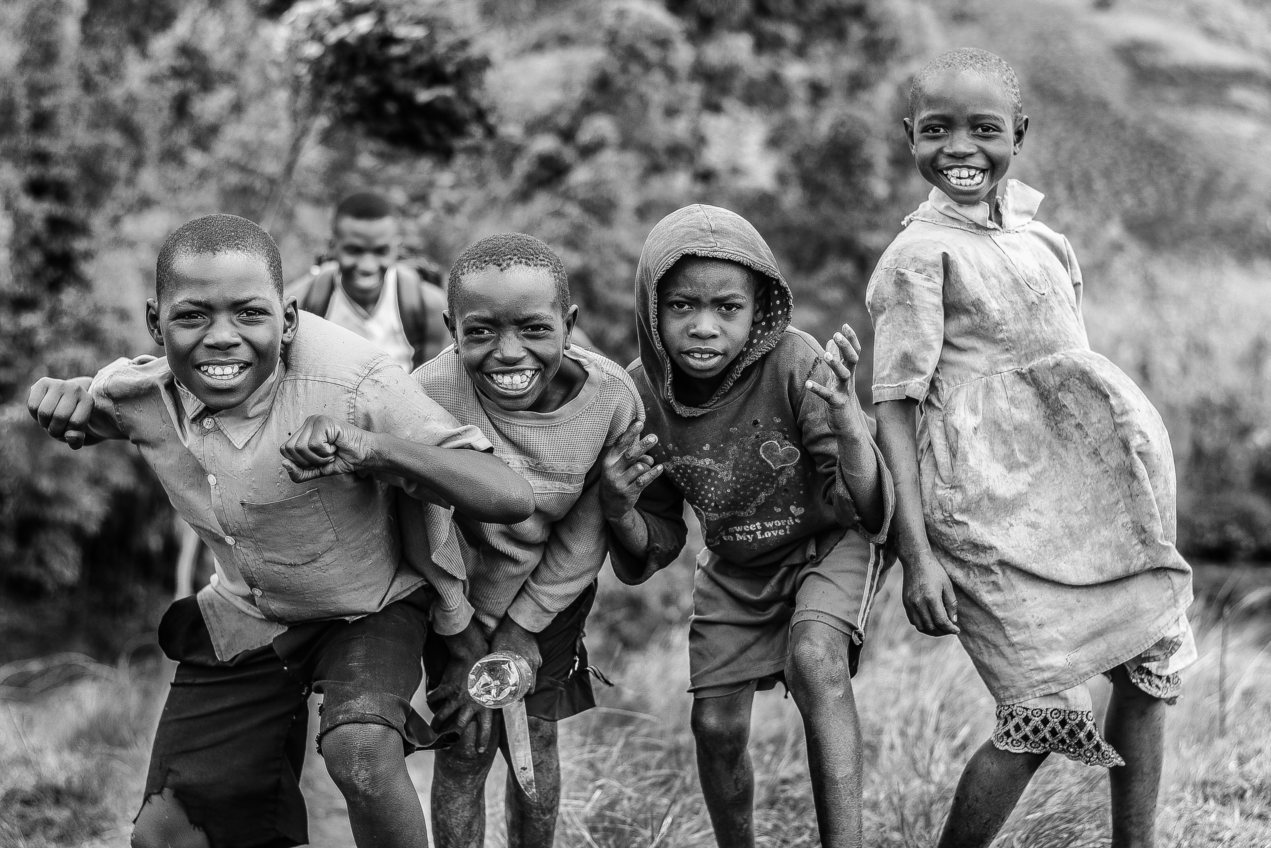 Grayscale Photograph Group of Children