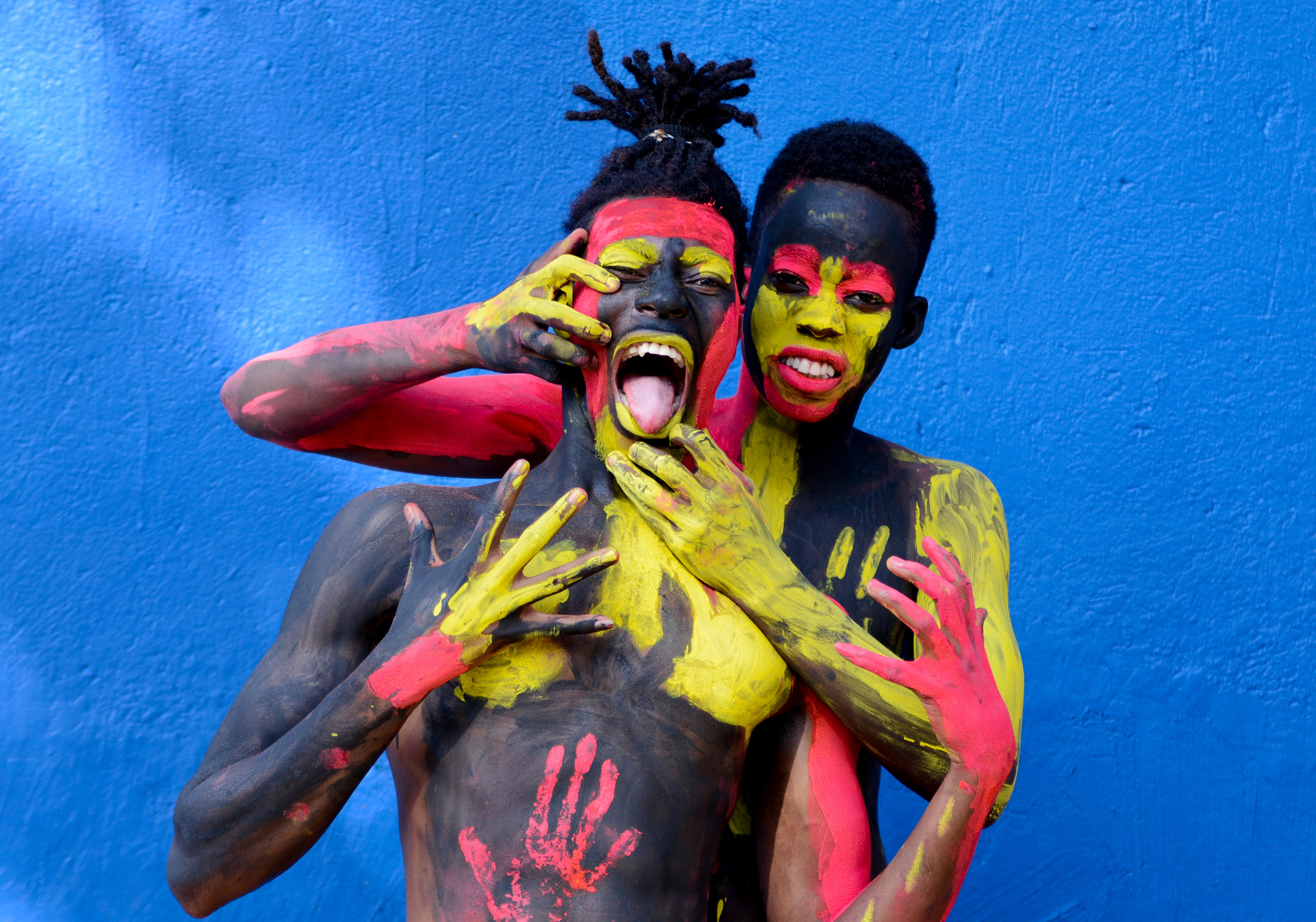 Man Beside A Woman In Body Paint Free Stock Photo