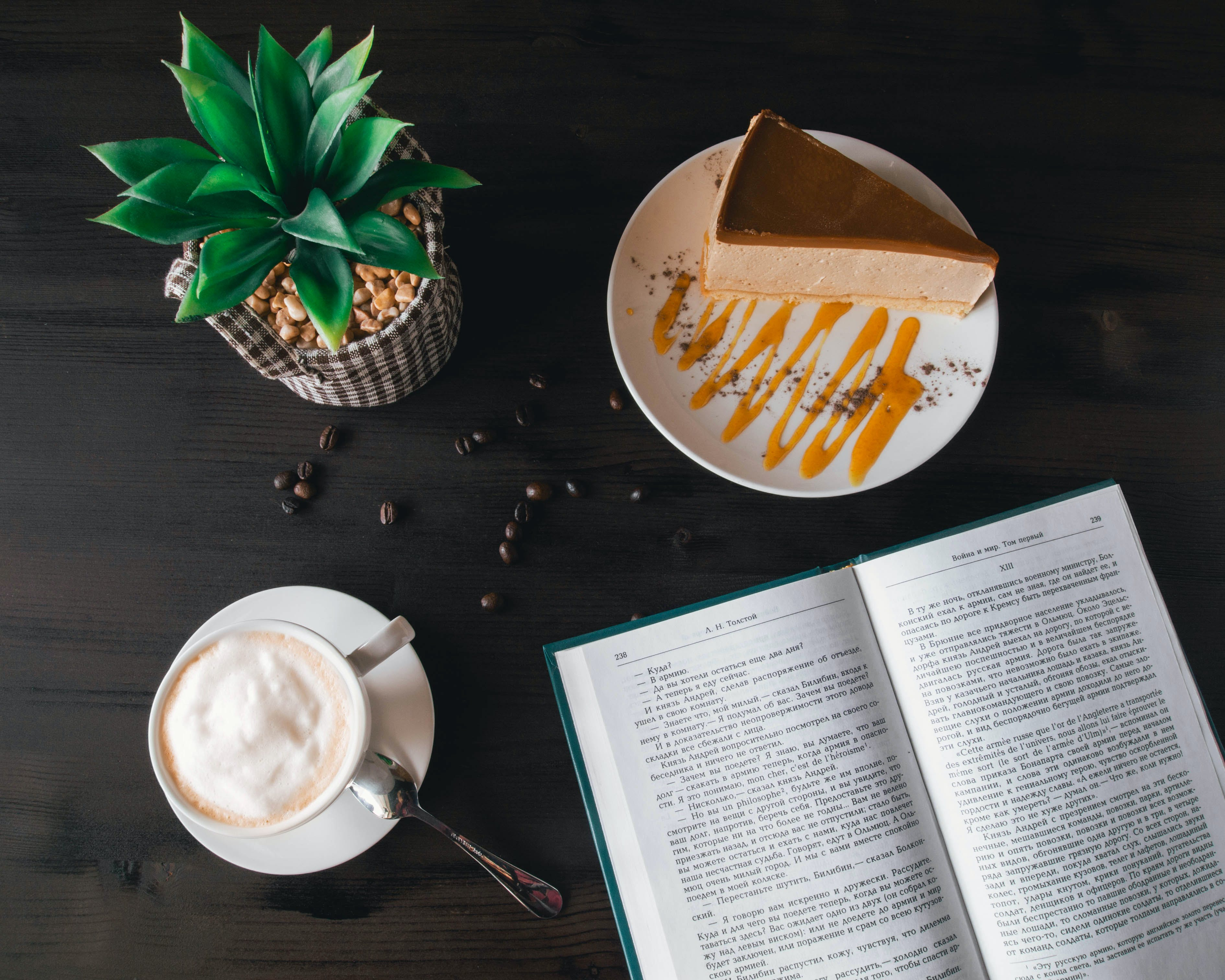 Opened Book Near Custard Cake and Coffee
