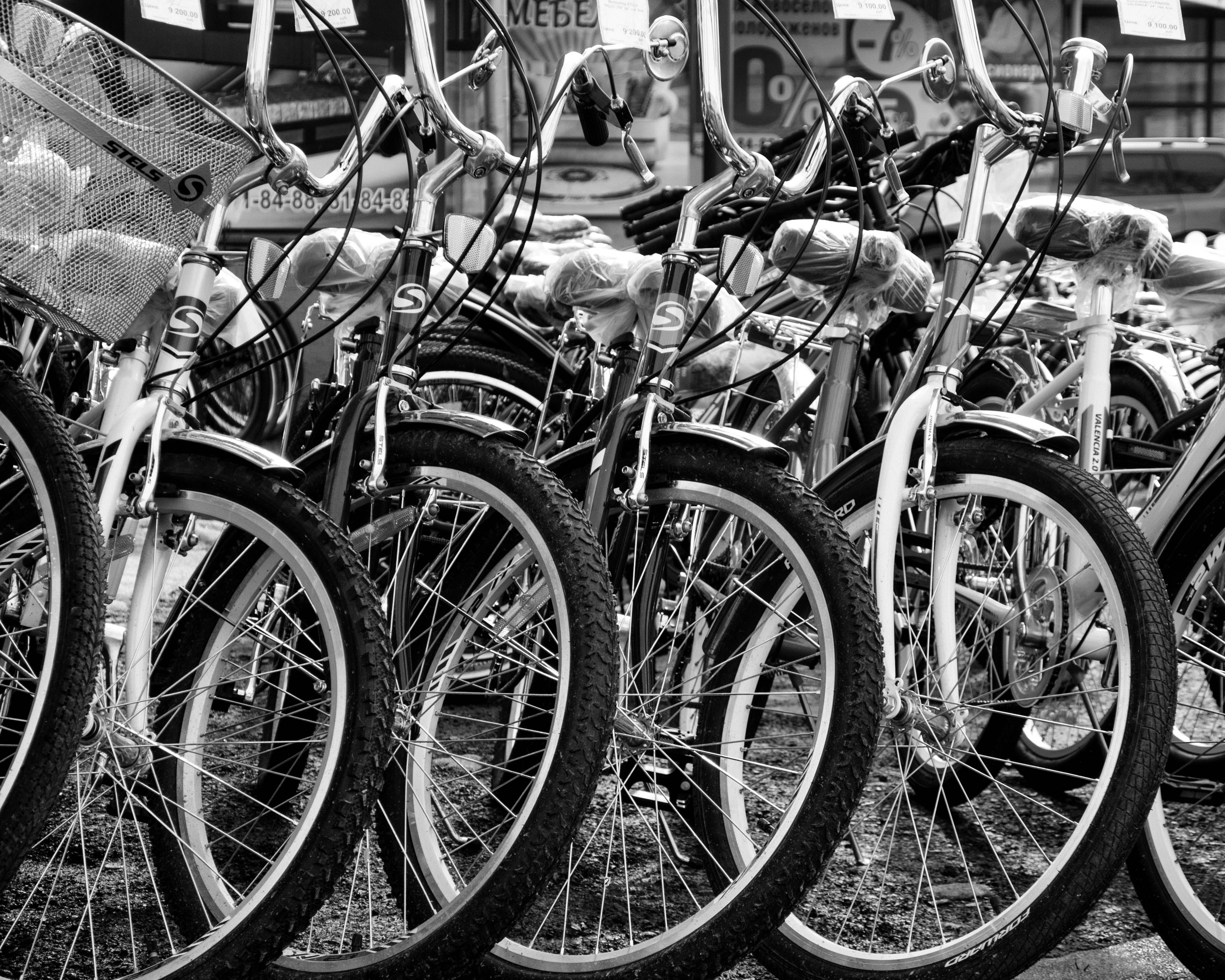 Grayscale Photo of Bicycles