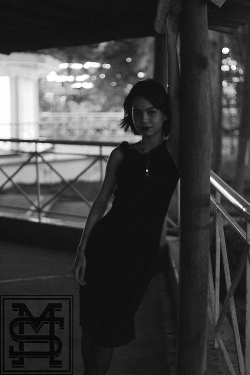 Monochrome Photography of Woman Wearing Black Dress