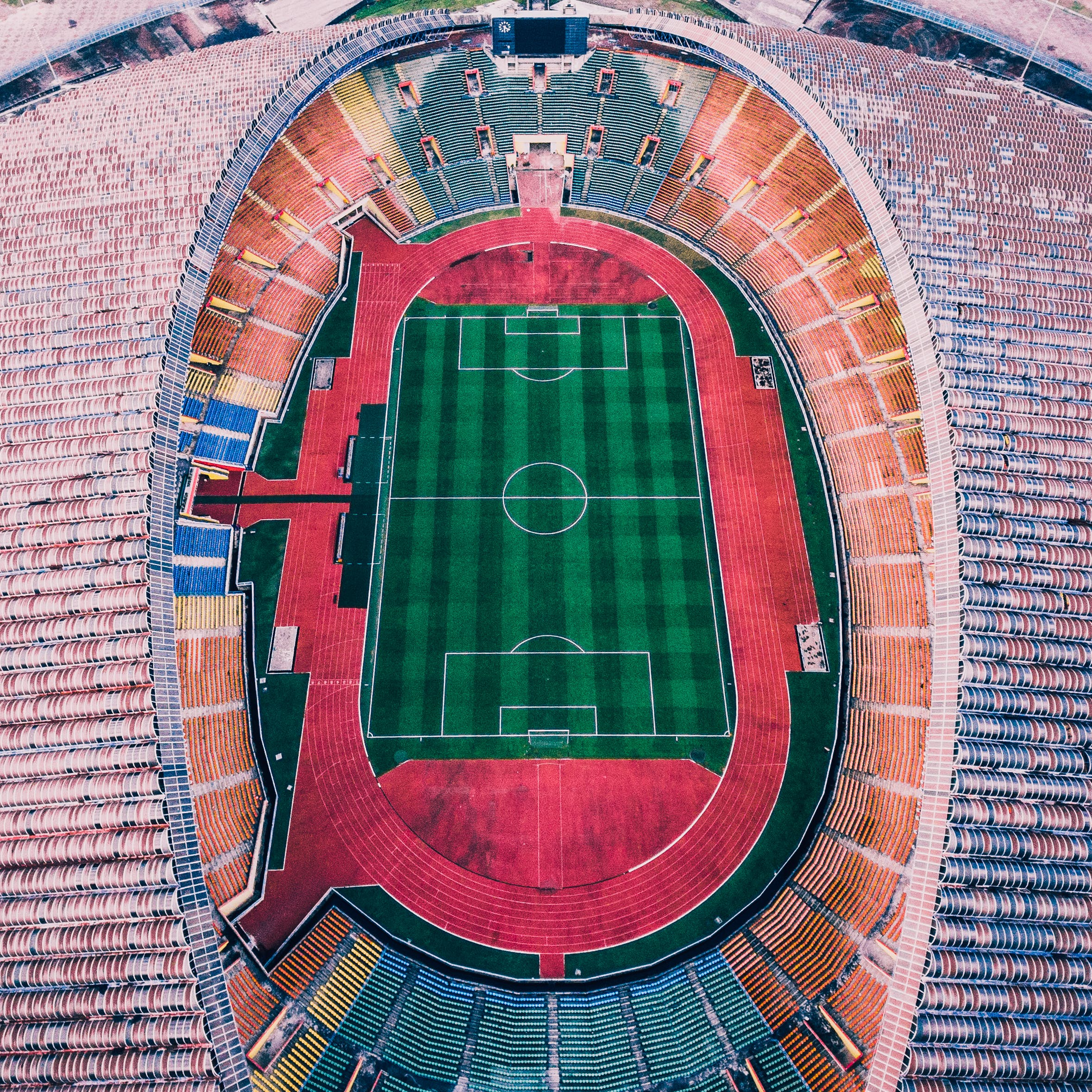 Aerial Photography of Multicolored Soccer Field