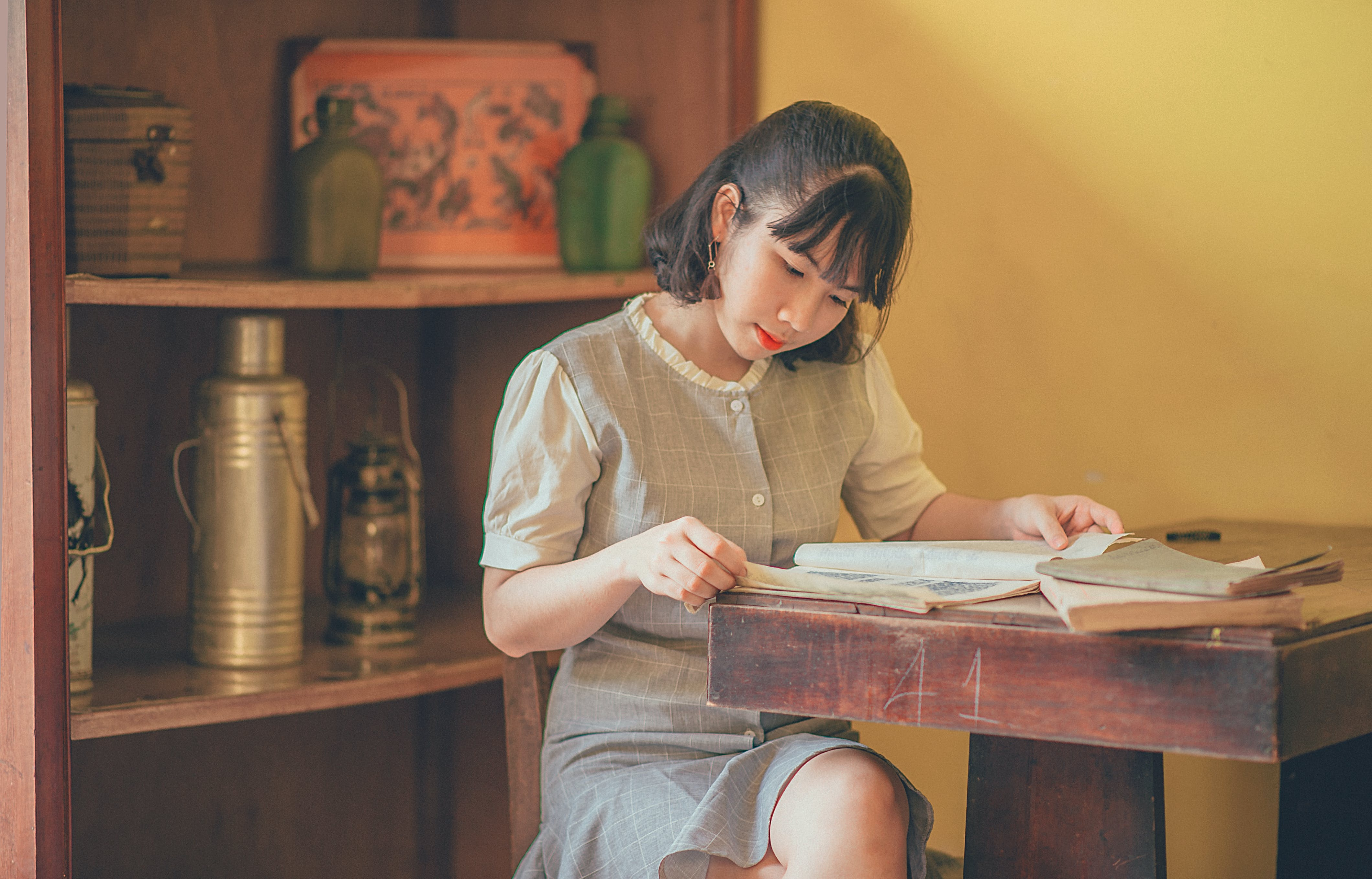 Photo of Short-haired Woman Reading