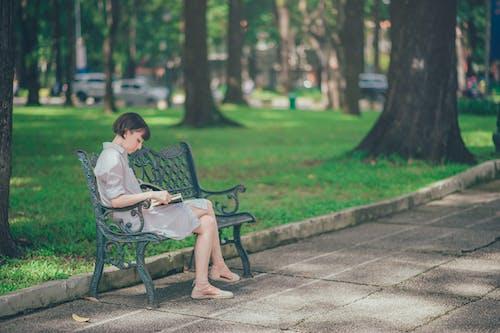 Gratis lagerfoto af afslapning, bænk, dame, fritid