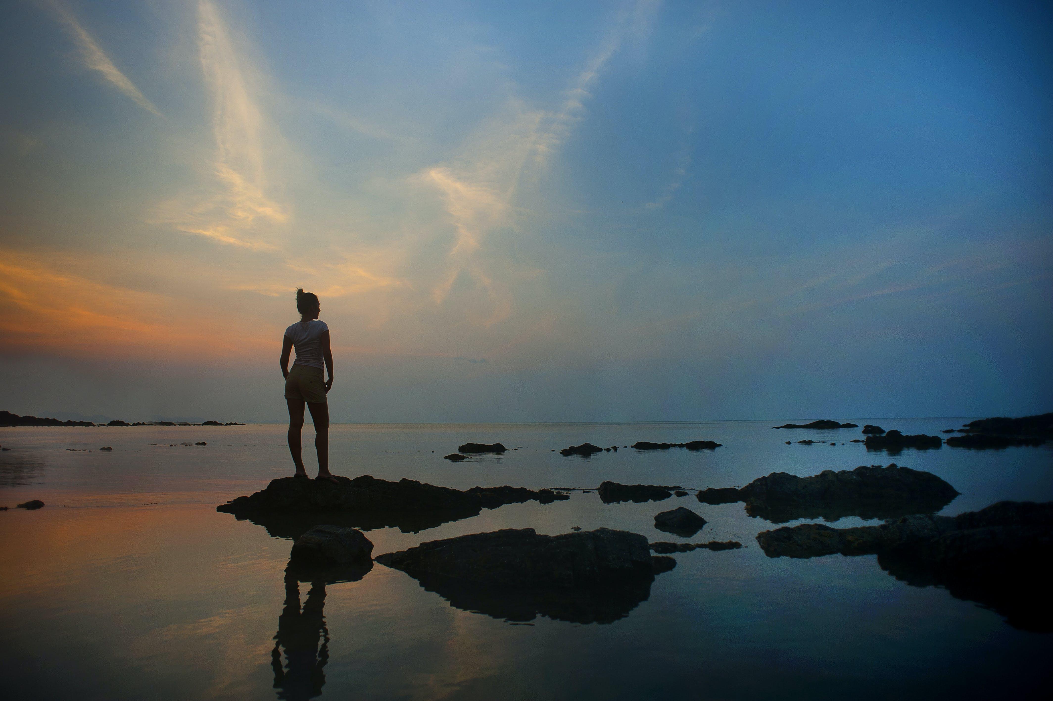 Gratis lagerfoto af bagbelyst, himmel, morgengry, person