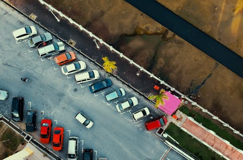 Bird's Eye View of Parked Cars
