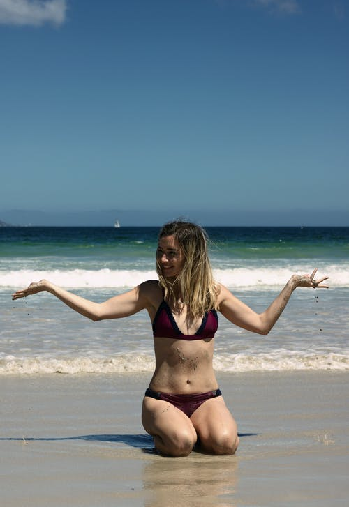 Woman Wearing Bikini on Seashore