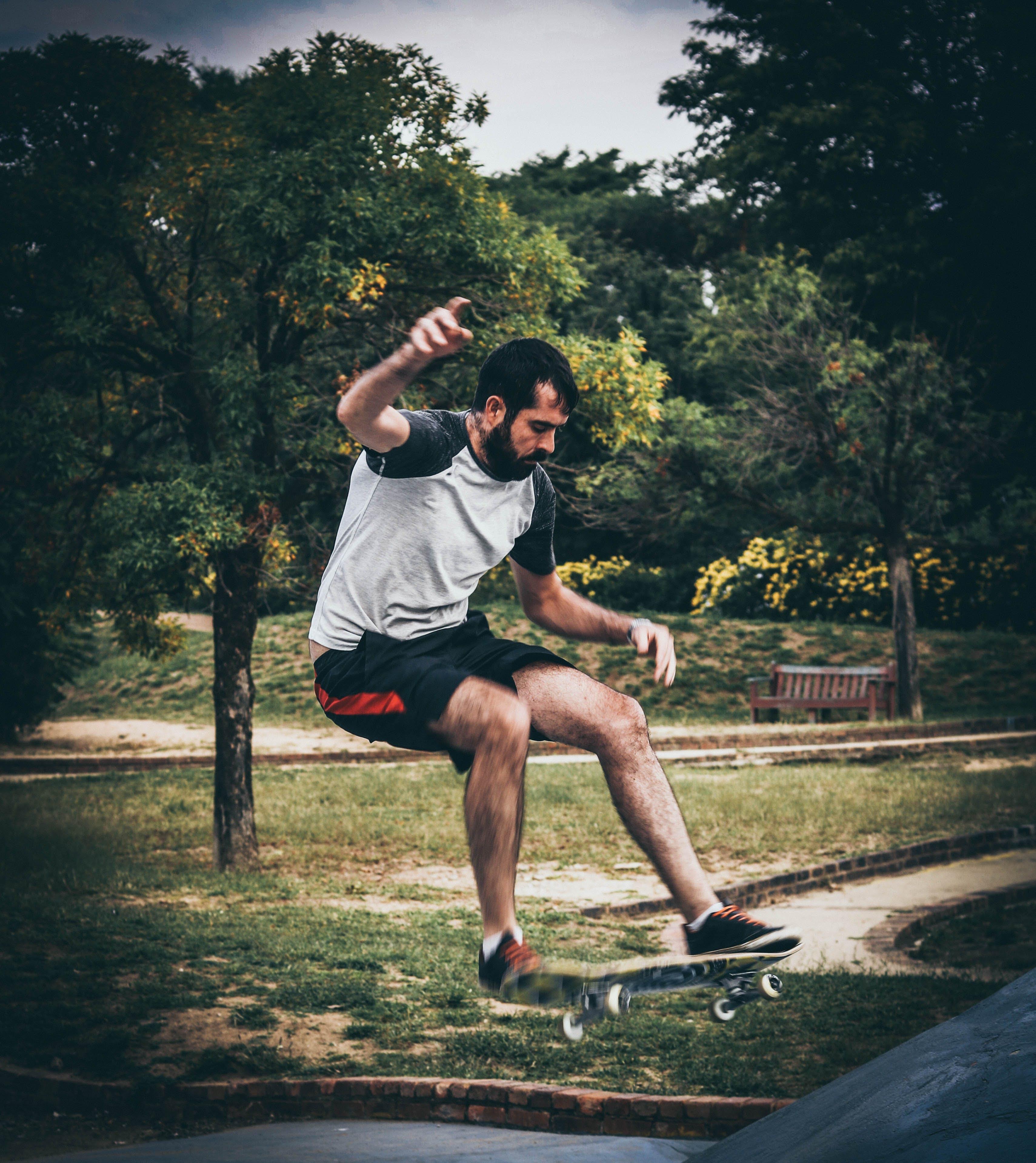Man On Skateboard Doing Tricks