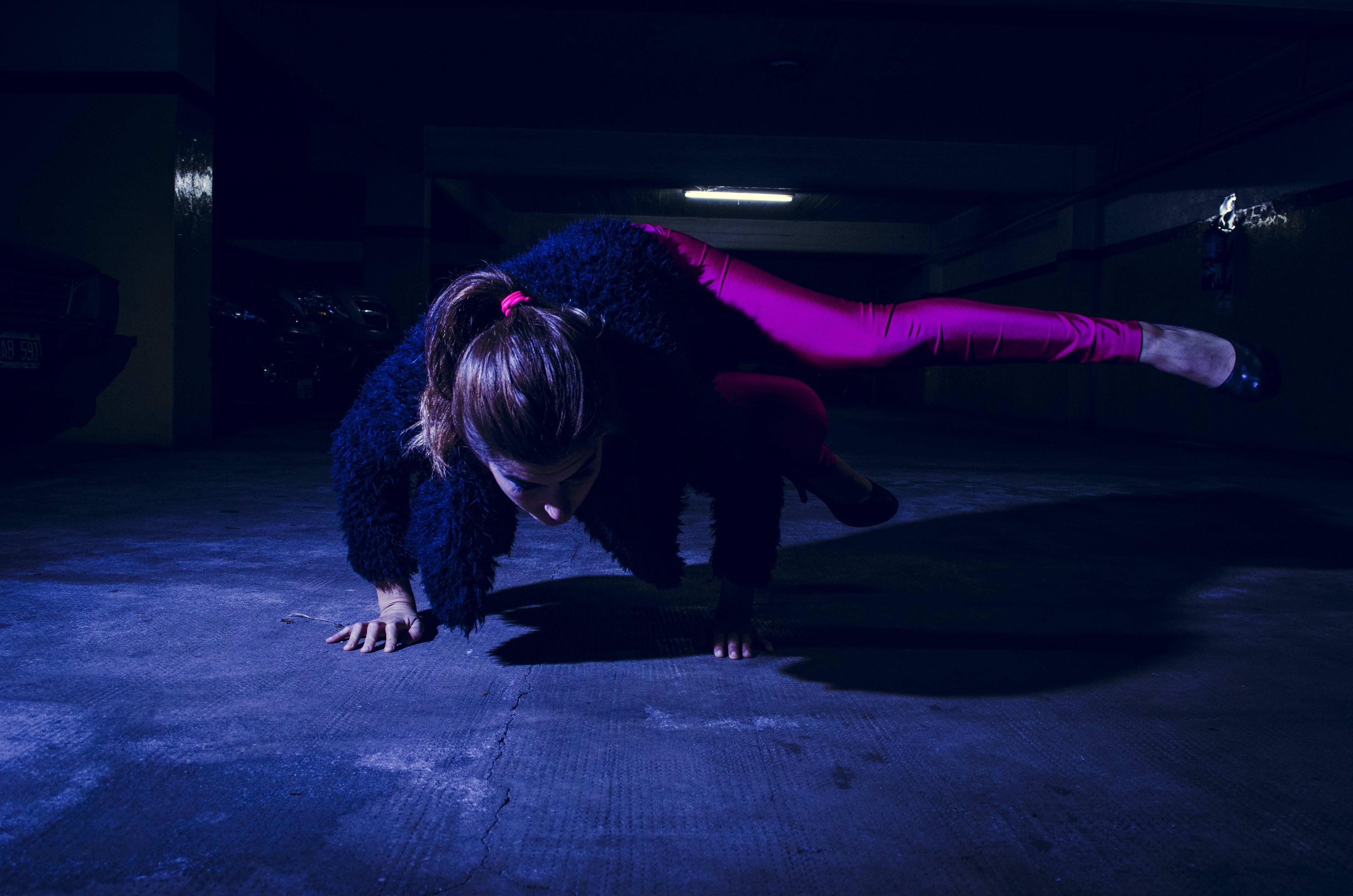 Woman Wearing Purple Leggings Dancing Hip Hop