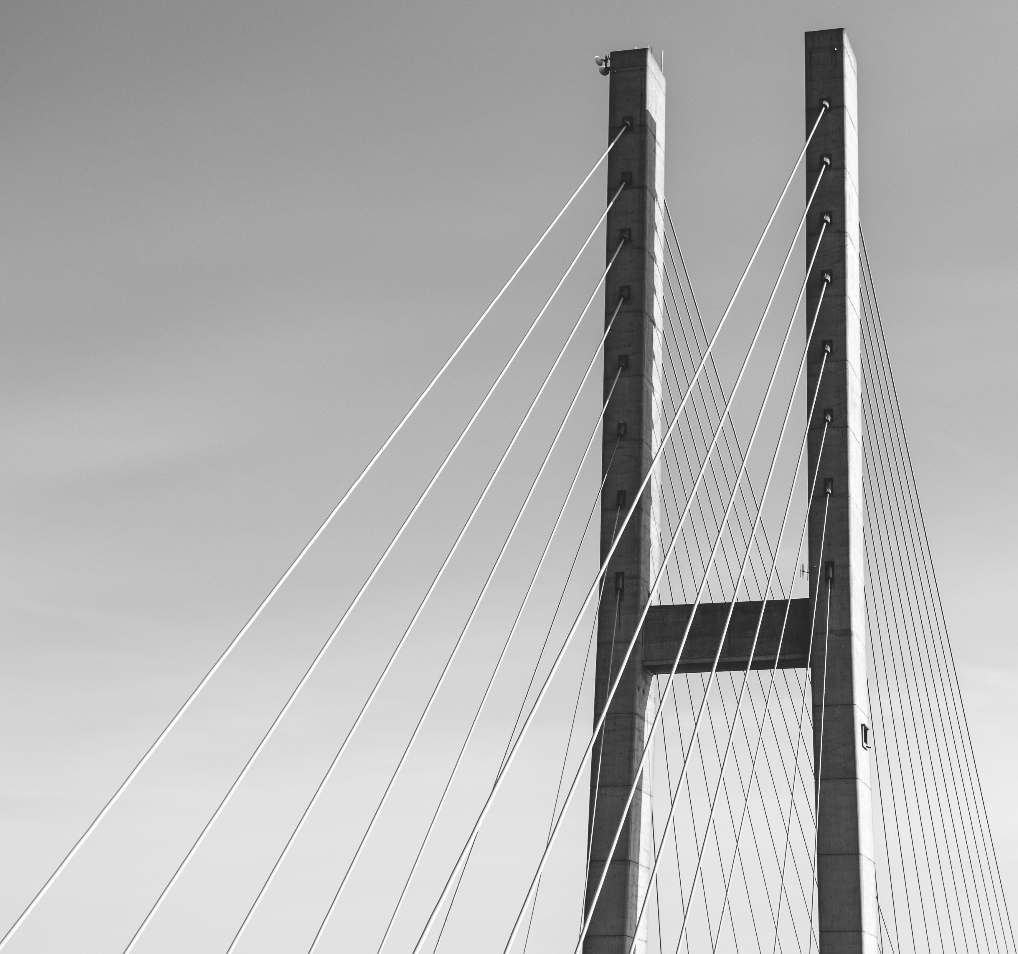 Gray Concrete Bridge in Grayscale Photography