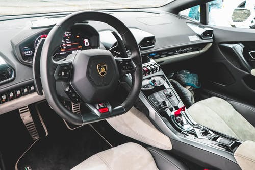 Black Lamborghini Vehicle Steering Wheel