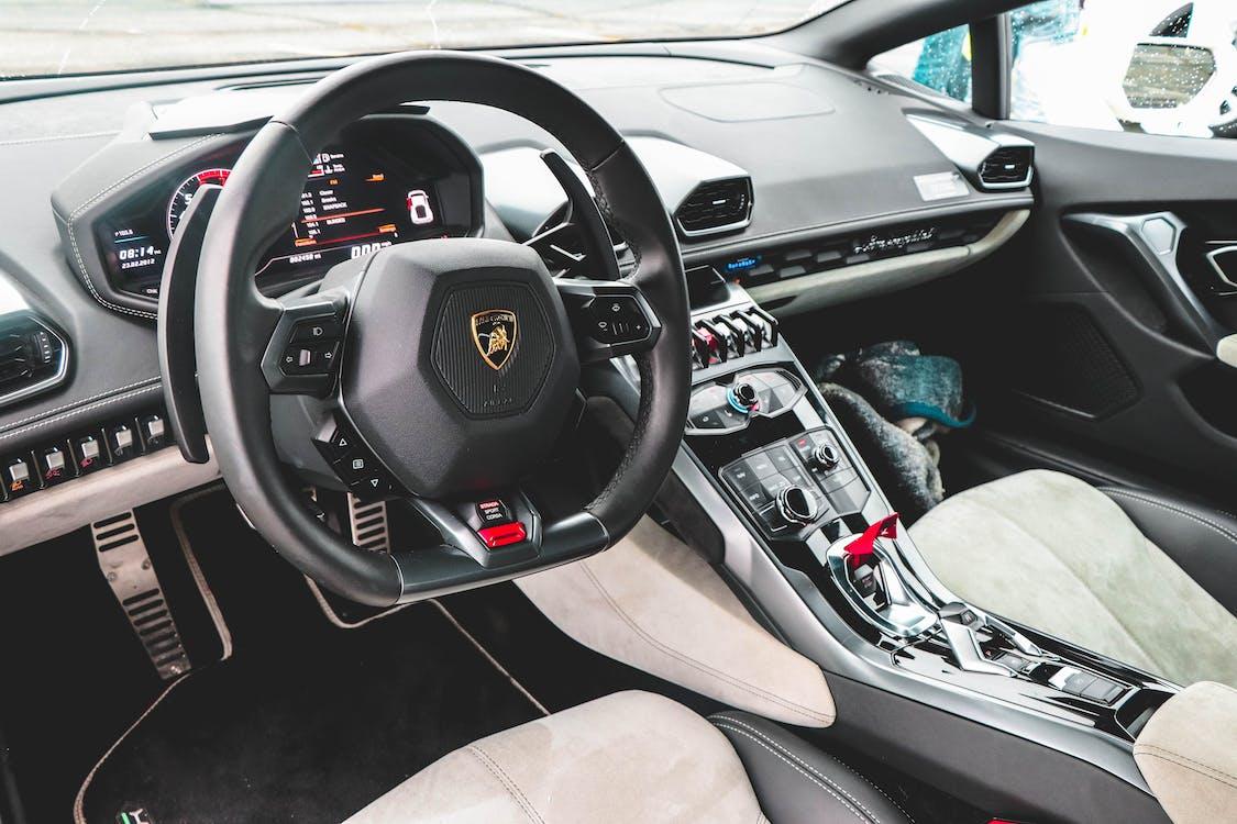 Black Lamborghini Vehicle Steering Wheel
