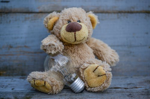 Close-Up Photography of Teddy Bear Near Light Bulb