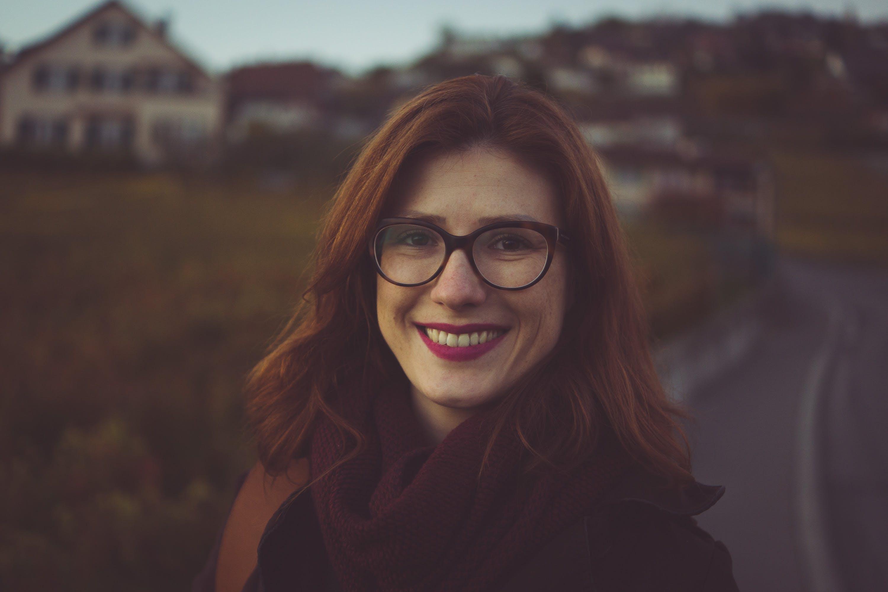 abend, attraktiv, brille