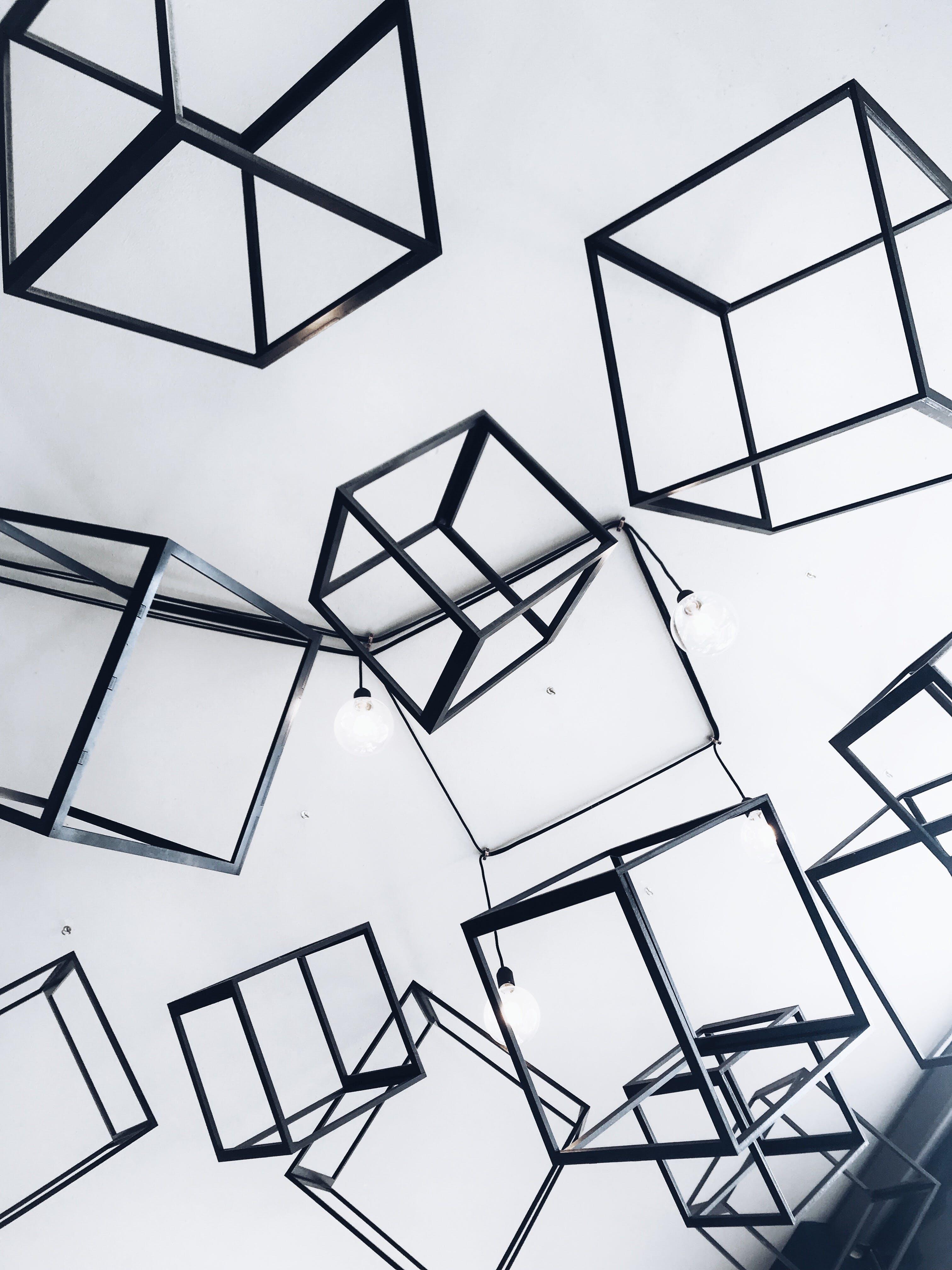 Gray Metal Cubes Decorative