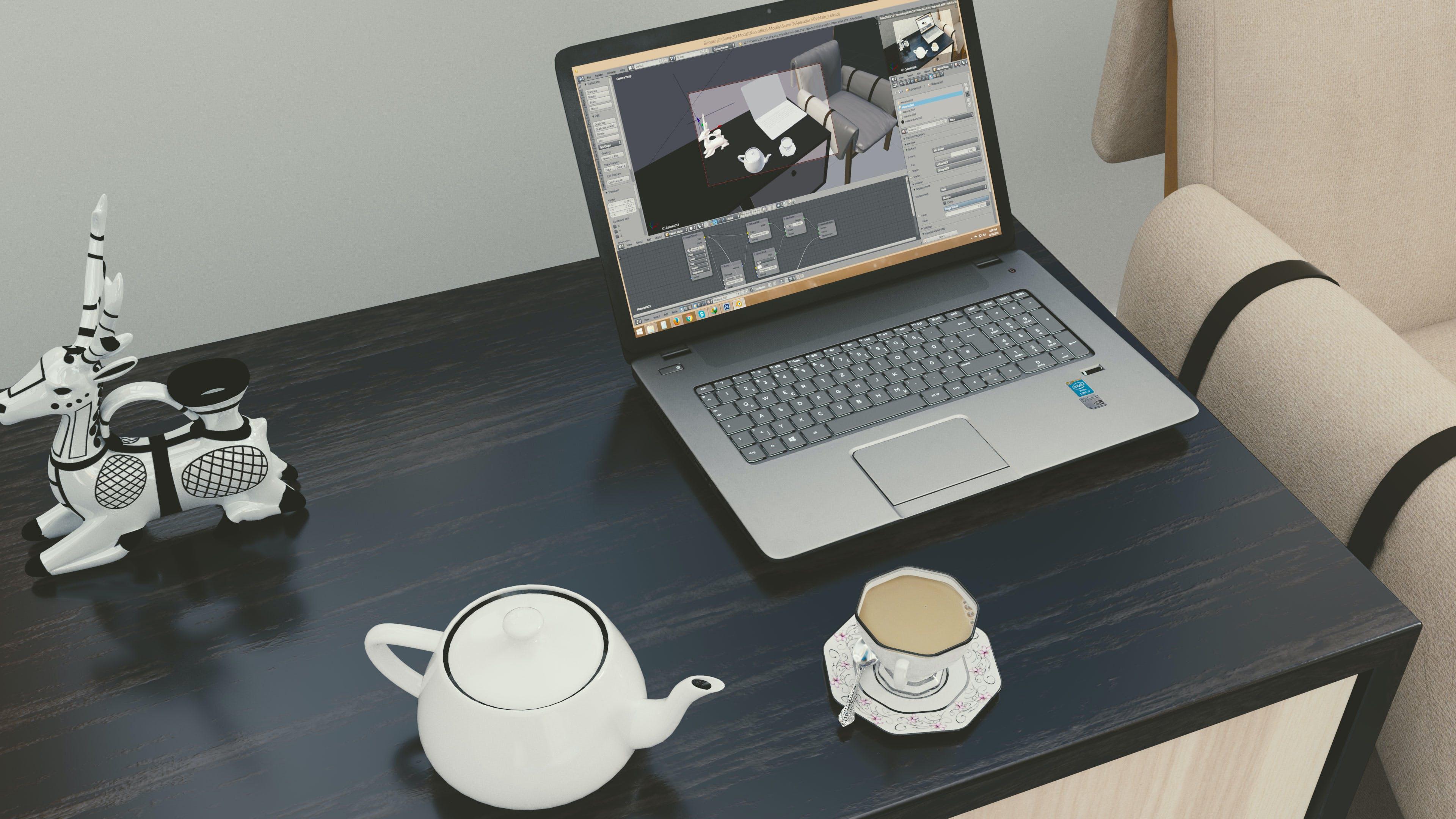 杯子, 筆記本電腦, 茶, 高清桌面 的 免费素材照片