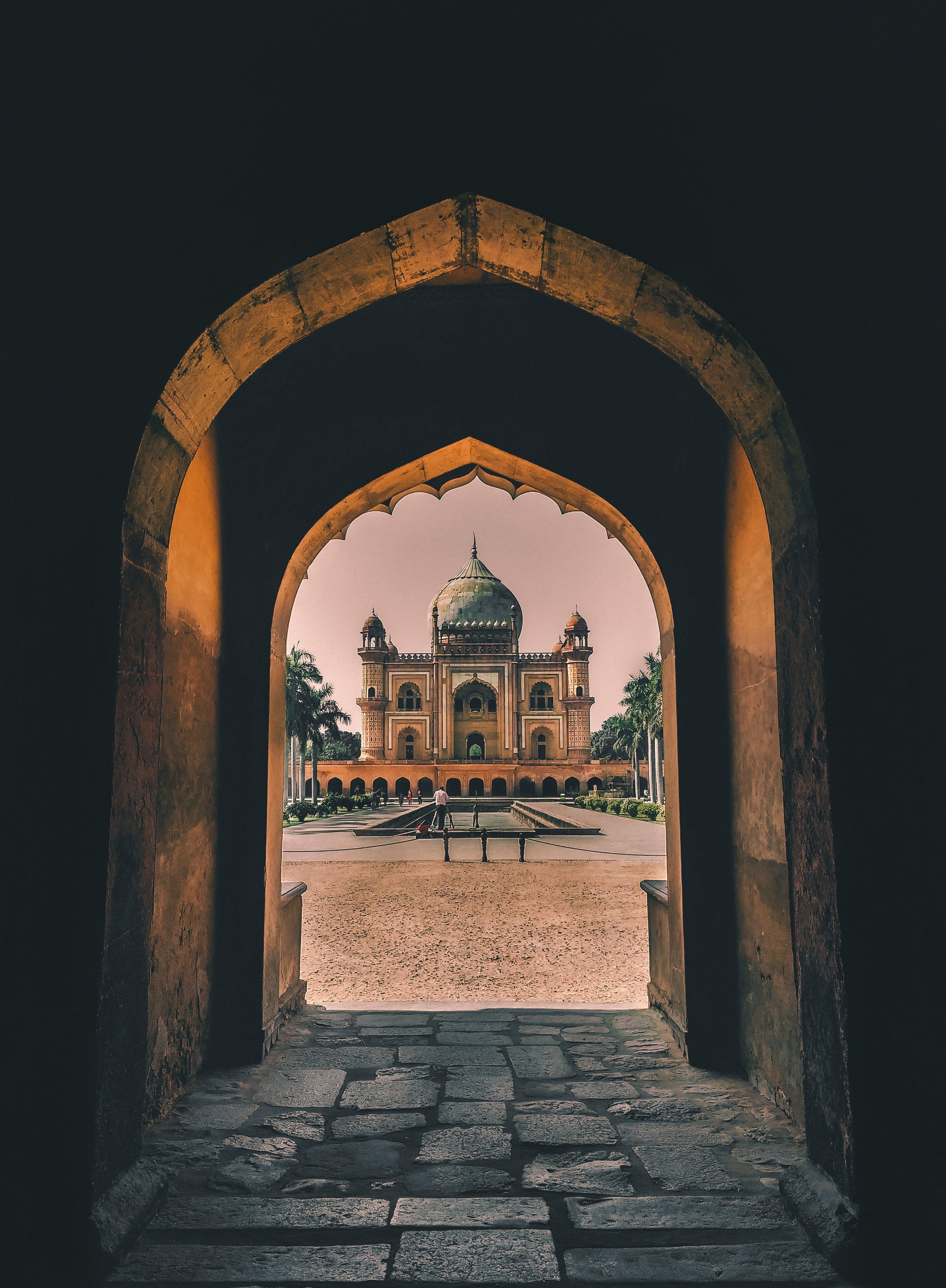Empty Concrete Tunnel Through Mosque