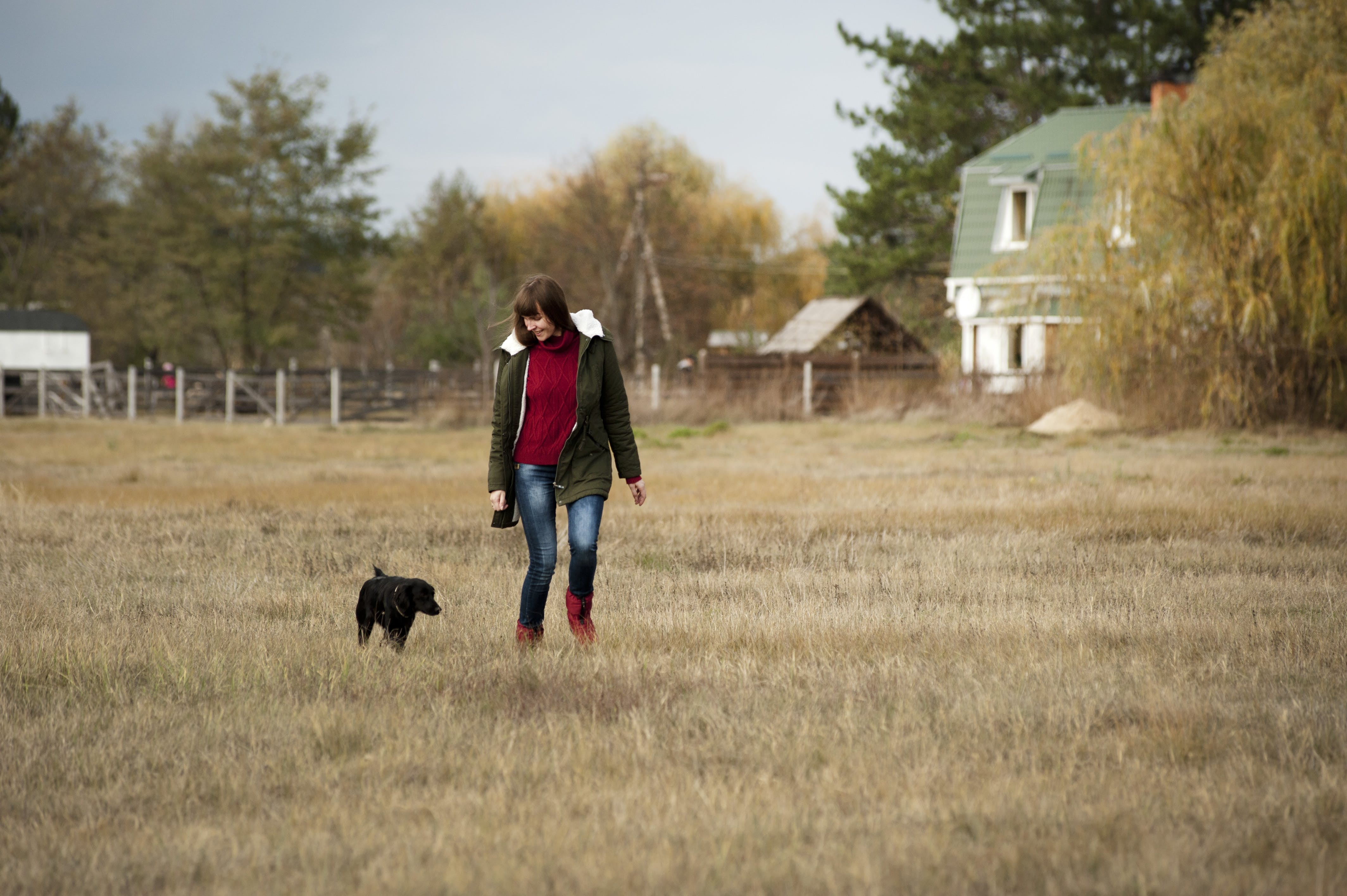Woman Wearing Brown Zip-up Jacket and Blue Denim Jeans Walking Beside Short-coated Black Dog at Daytime