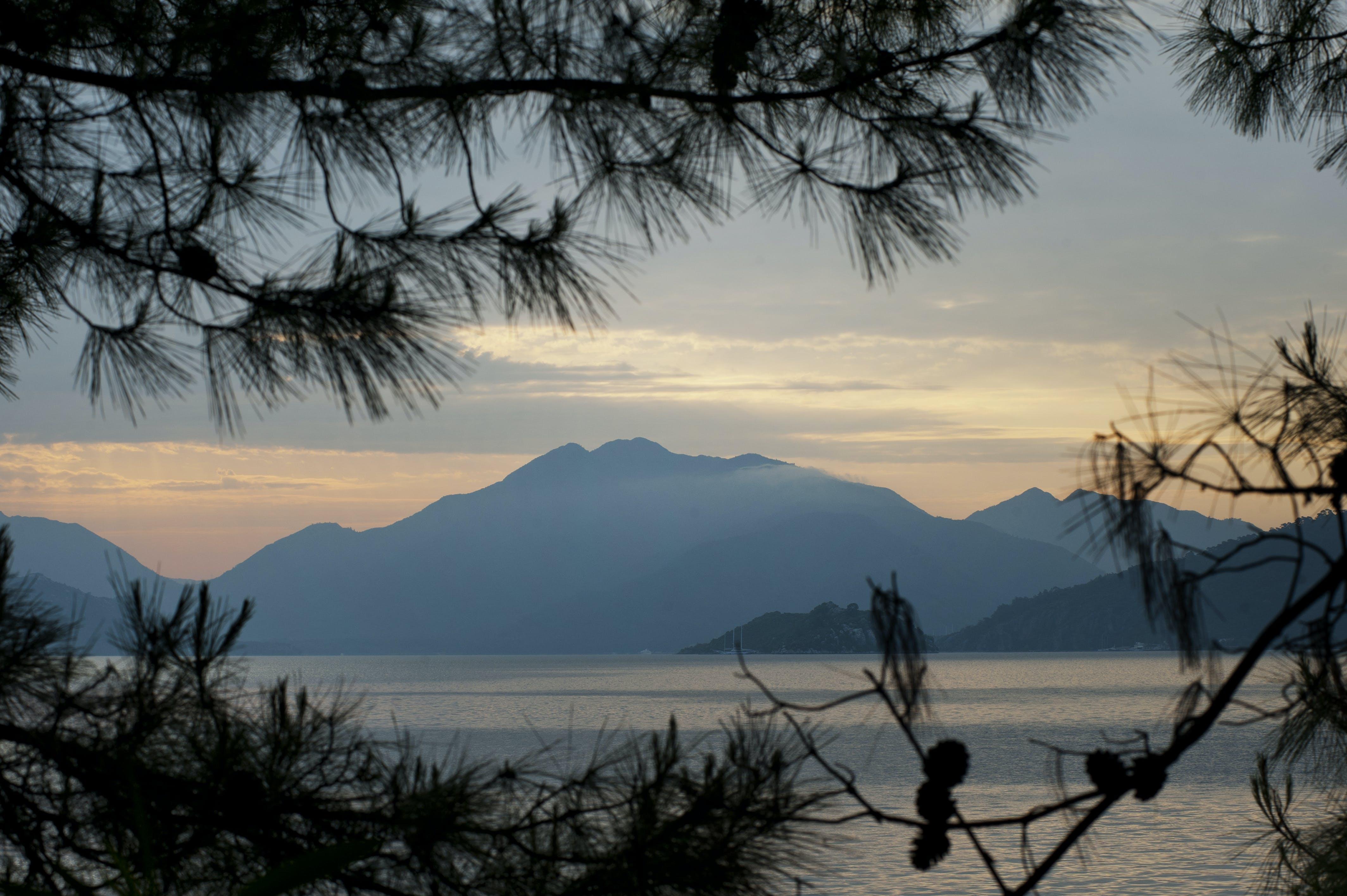 Free stock photo of sea, sunset, mountain, view