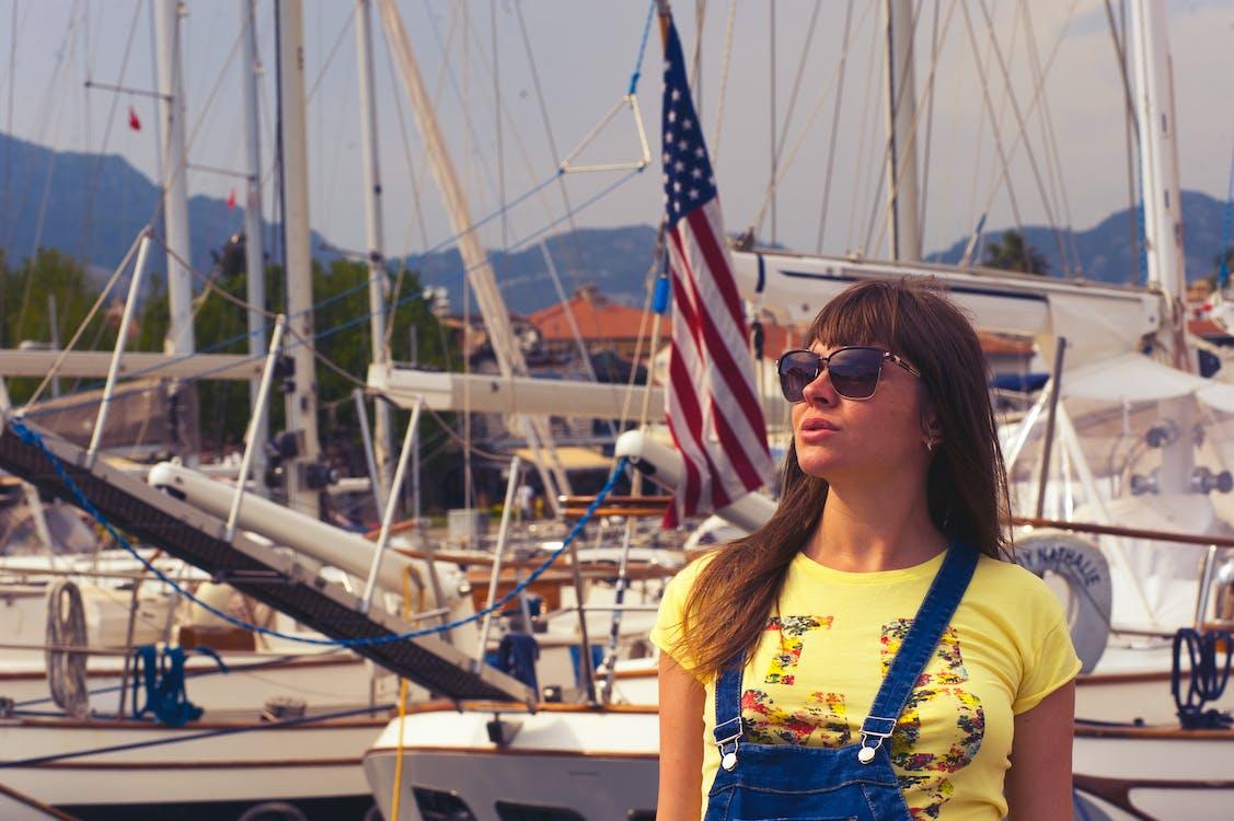 adulto, bandera estadounidense, barco