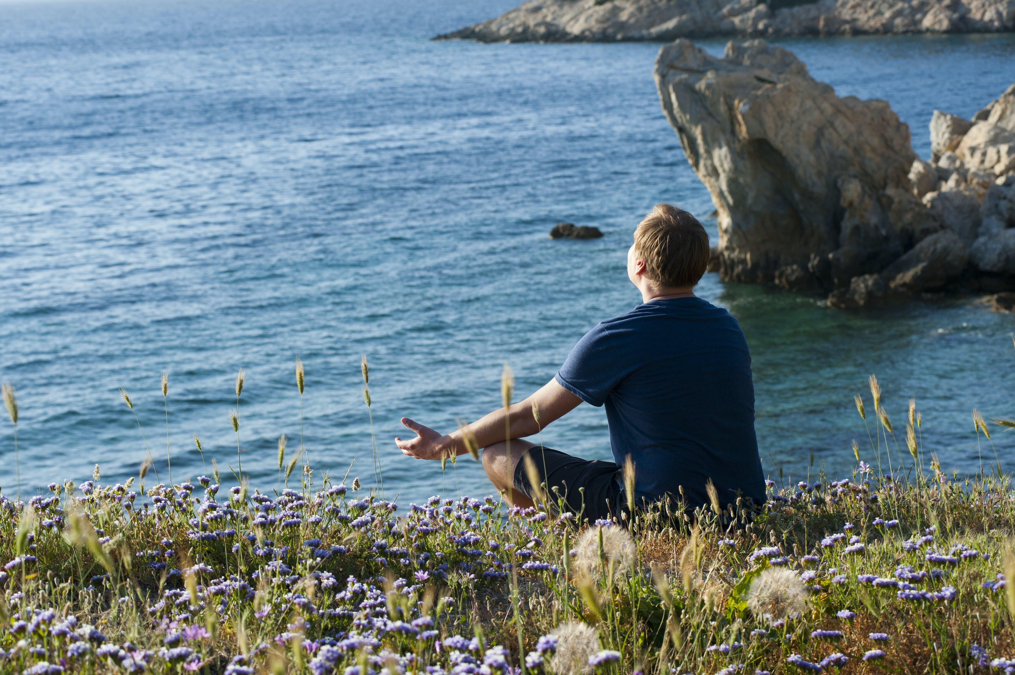 Man Sitting on Flower Fields Facing Ocean