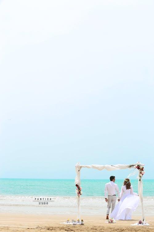 bryllup, par, strand