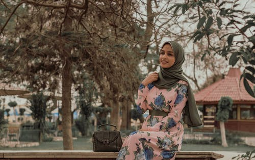 Woman Wearing Grey Hijab Headdress