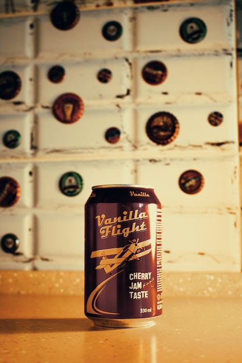 330ml Vanilla Flight Cherry Jam Taste Can on Brown Wooden Surface