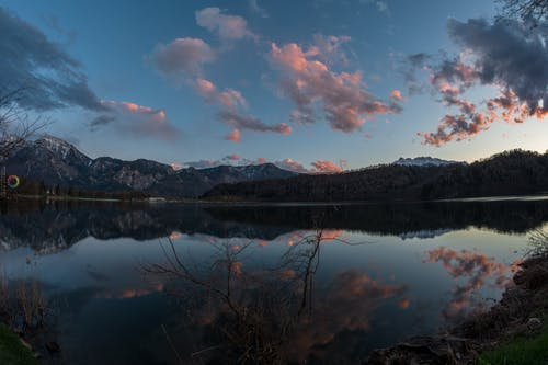 Foto stok gratis gunung biru, matahari terbenam