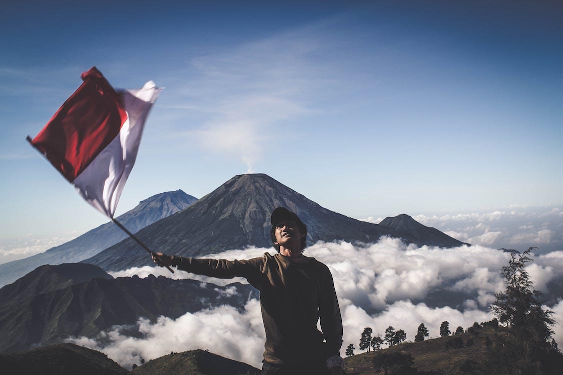 chmura, flaga, góra