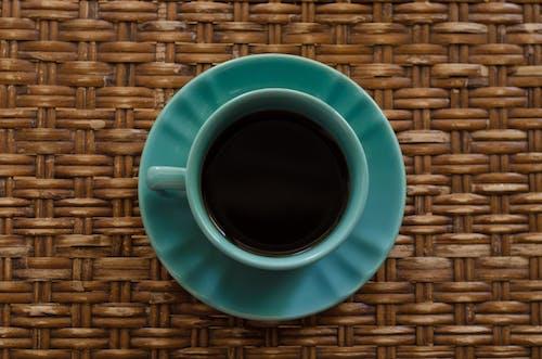 Teal Ceramic Mug on Saucer