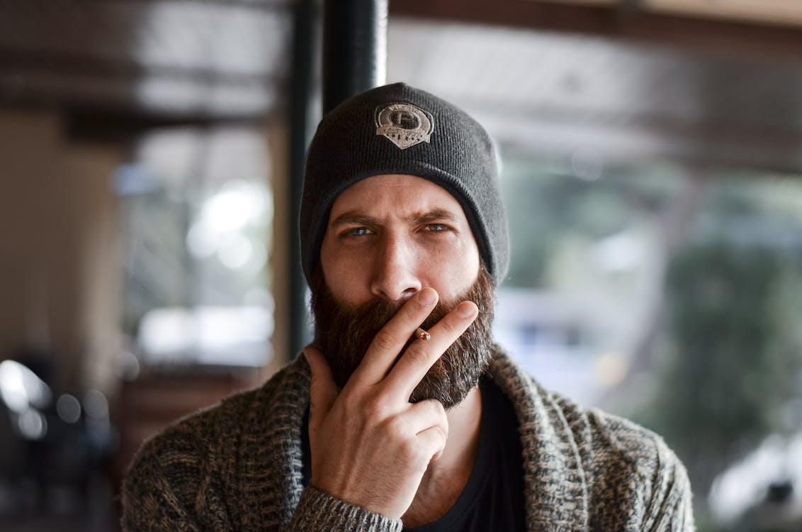 Man Smoking Cigarette Stick
