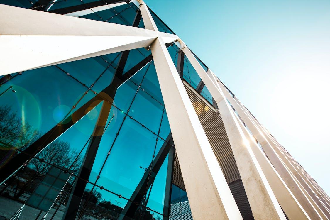 architektur, blauer himmel, futuristisch