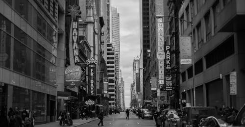 Grayscale Photo of New York Timesquare