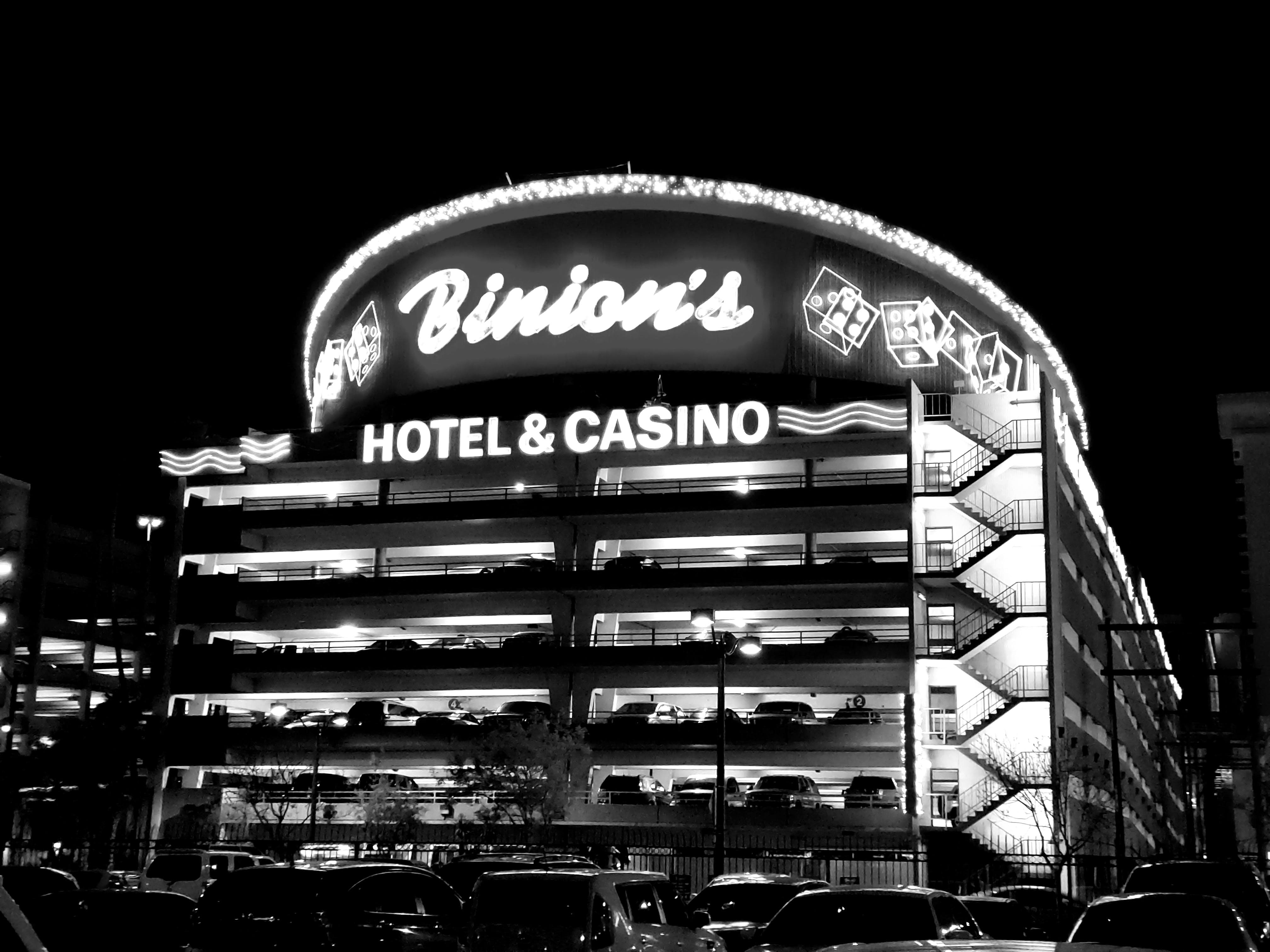 Grayscale Photography Binion's Hotel & Casino