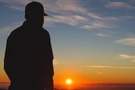 sky, sunset, man